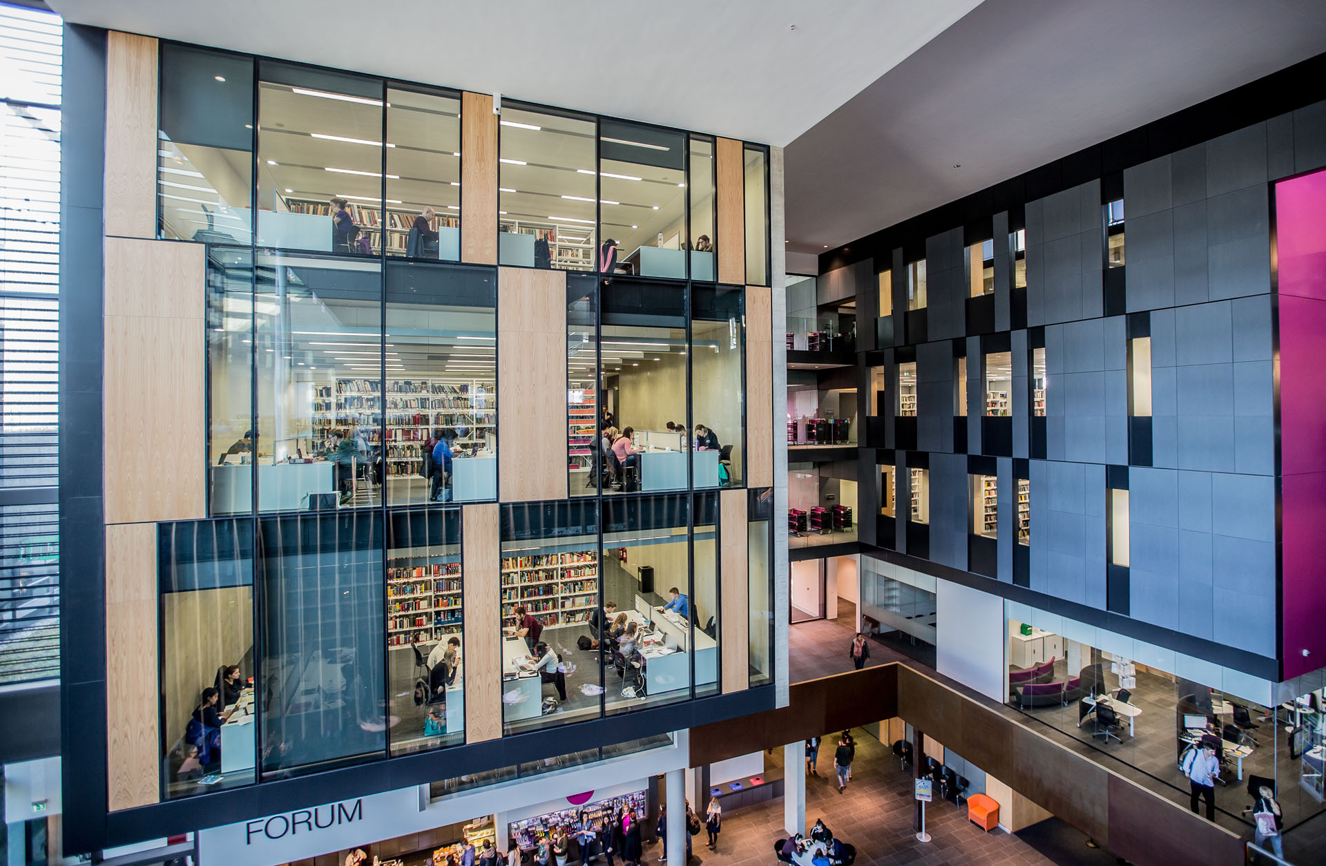 Headington Library Oxford Brookes University library building architecture design interior view