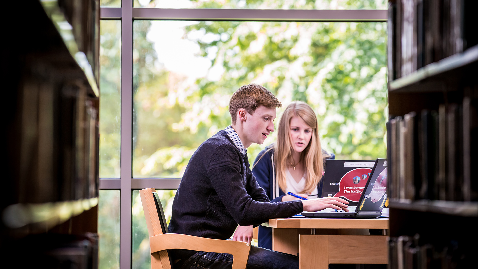 McClay Library Queen's University Belfast interior view users people young