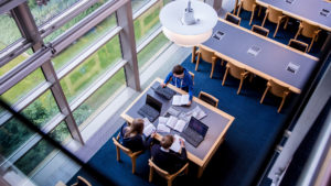 McClay Library Queen's University Belfast building architecture design interior view tables people users