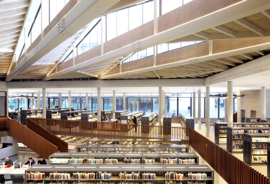Waregem public library building architecture design interior view
